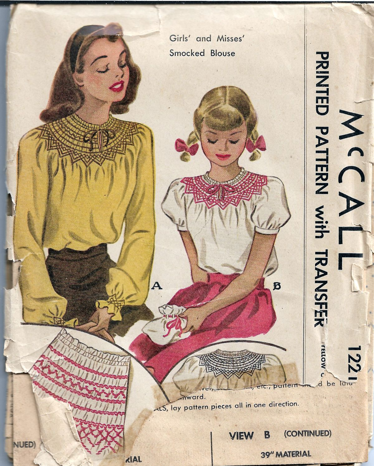 McCall 1221 Misses Smocked Blouse Vintage Sewing Pattern