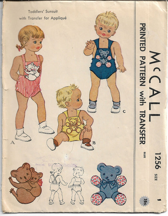 mccall 1256 toddler vintage pattern 1940s