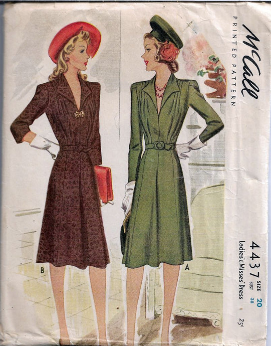 McCall 4437 Ladies Dress Wing Collar Vintage Sewing Pattern
