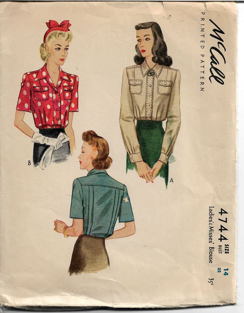 McCall 4744 Vintage 1940's Pattern Ladies Tuck In Front Buttoned Blouse Short Long Sleeves - VintageStitching - Vintage Sewing Patterns