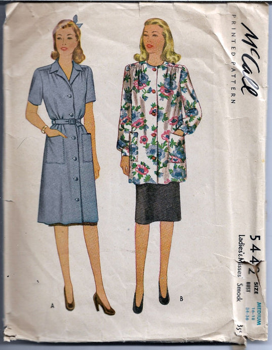 McCall 5442 Ladies Smock Dress Vintage Sewing Pattern 1940s - VintageStitching - Vintage Sewing Patterns