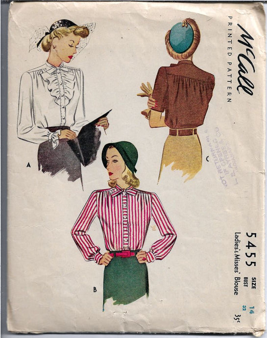 McCall 5455 Vintage Pattern 1940's Ladies Blouse Ruffled Cuffs Front Button Closing Tie - VintageStitching - Vintage Sewing Patterns