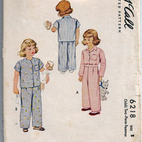 McCall 6218 Vintage Sewing Pattern 1940s Toddler Pajamas Two Piece - VintageStitching - Vintage Sewing Patterns