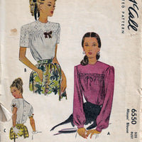McCall 6550 Ladies Back Buttoned Blouse Puff Sleeves Vintage Sewing Pattern