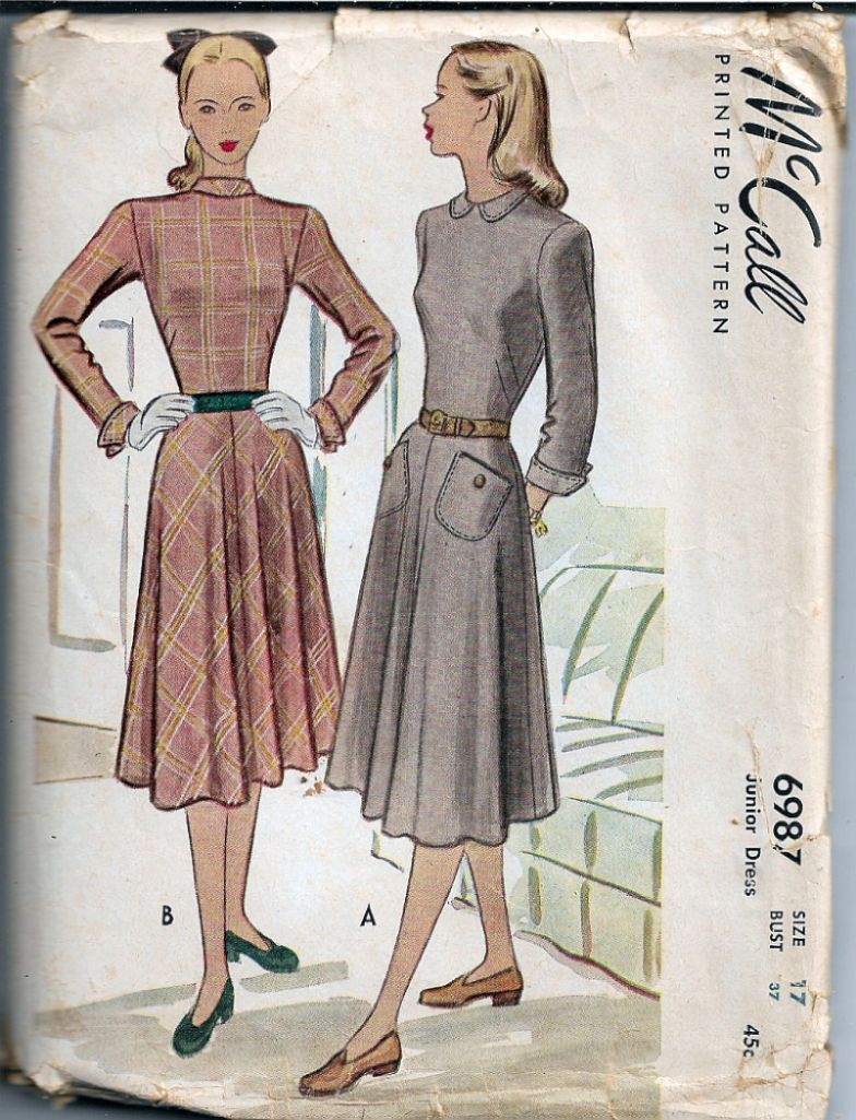 McCall 6987 Junior Back Buttoned Dress Vintage Sewing Pattern