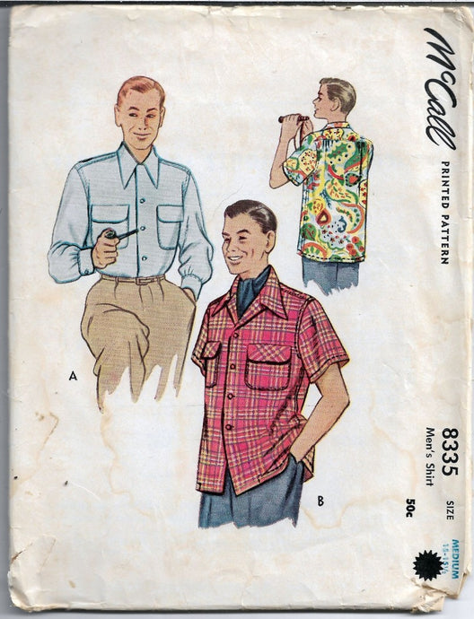 McCall 8335 Vintage Sewing Pattern 1950s Mens Dress Shirt - VintageStitching - Vintage Sewing Patterns