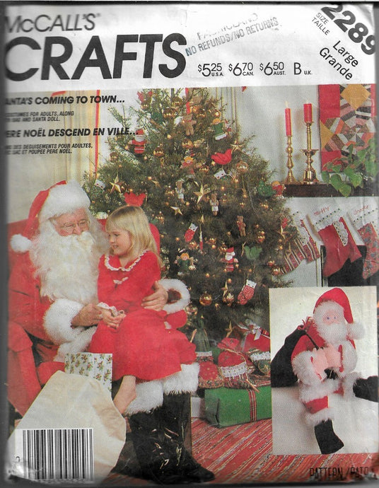 McCall's Crafts 2289 Christmas Santa Claus Costume Bag Doll Vintage 1980's Craft Pattern - VintageStitching - Vintage Sewing Patterns