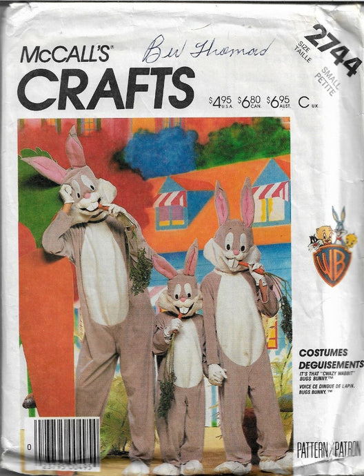 McCall's 2744 Bugs Bunny Halloween Costume Vintage Sewing Pattern 1980's Adult Mens Ladies - VintageStitching - Vintage Sewing Pattern