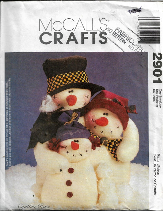 McCalls Crafts 2901 Snowmen Sewing Pattern Christmas - VintageStitching - Vintage Sewing Patterns