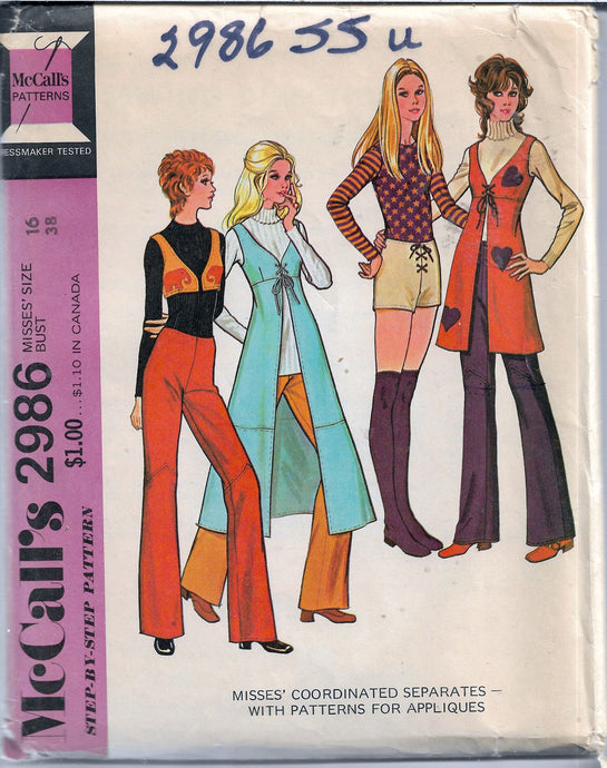 mccalls 2986 vintage 1970s pattern separates