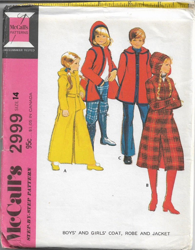McCalls 2999 Vintage 1970's Sewing Pattern Long Robe Coat Jacket Children Boys Girls - VintageStitching - Vintage Sewing Patterns