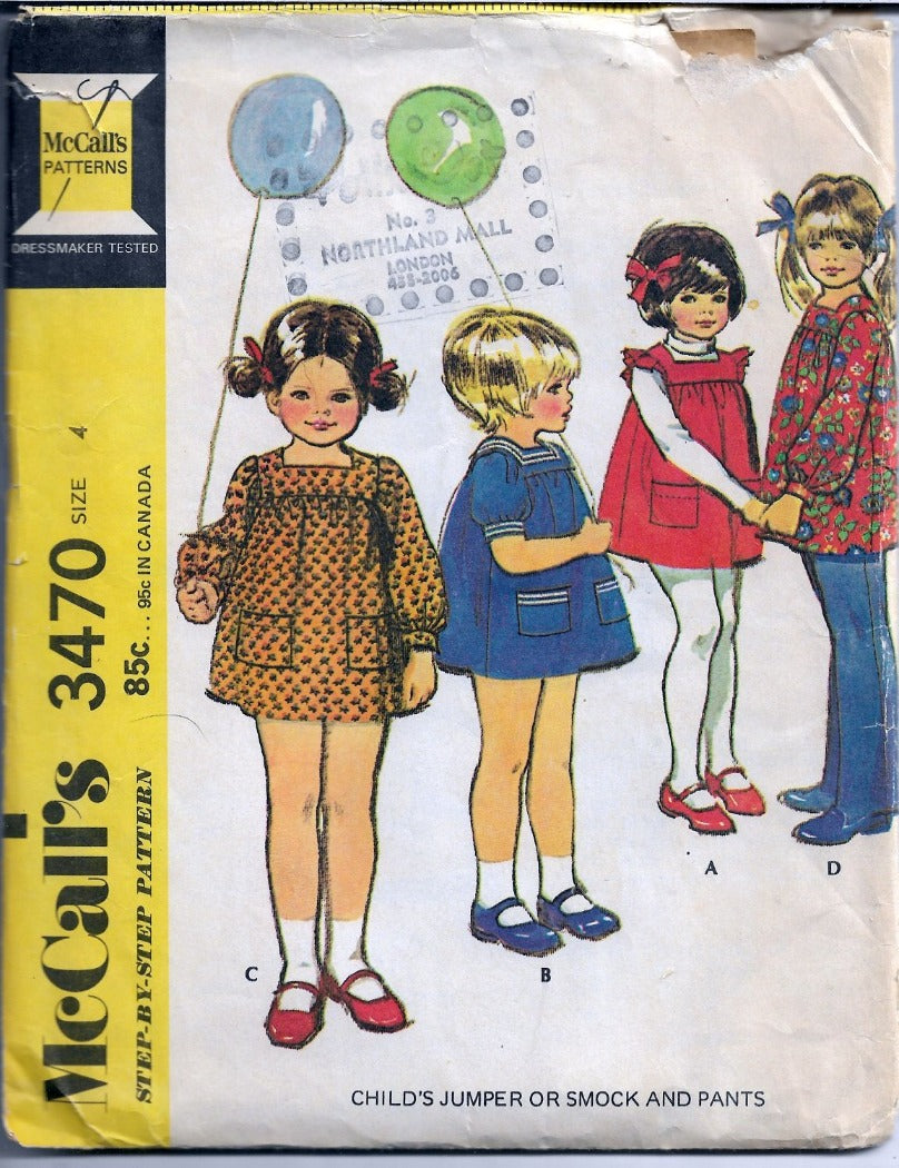 McCalls 3470 Little Girls Jumper Dress Smock Pants Vintage Sewing Pattern 1970s - VintageStitching - Vintage Sewing Patterns