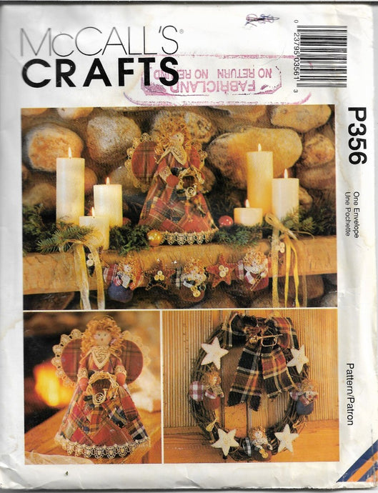 McCall's Crafts 356 / 8892 Country Angel Sewing Pattern Christmas Ornaments Stocking Tree Topper - VintageStitching - Vintage Sewing Patterns