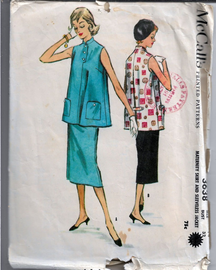 McCall's 3638 Maternity Jumper Top Straight Skirt Sleeveless Jacket Vintage 1950's Sewing Pattern - VintageStitching - Vintage Sewing Patterns