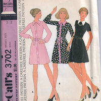 McCalls 3702 Vintage Sewing Pattern 1970s Ladies Short Dress - VintageStitching - Vintage Sewing Patterns