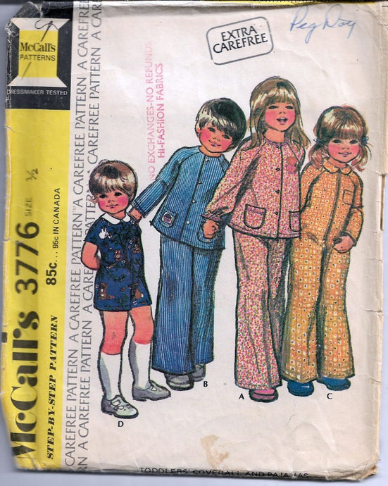 McCall's 3776 Toddler Jumpsuit Coveralls Pajamas Vintage 1970's Sewing Pattern Retro Style Clothing - VintageStitching - Vintage Sewing Patterns