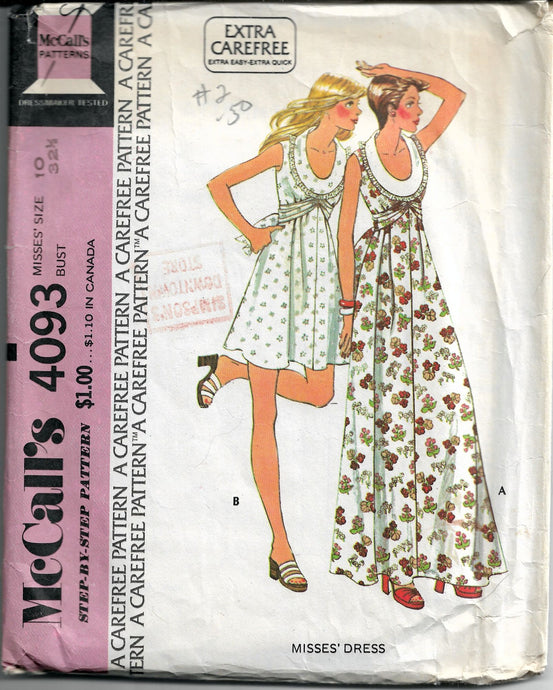 mccalls 4093 pullover dress vintage pattern
