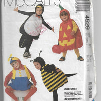 McCall's 4529 Toddlers Jack O Lantern Bee Mouse Bunny Penguin Halloween Costume Pattern - VintageStitching - Vintage Sewing Patterns