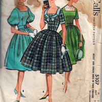McCalls 5107 Square Neck Rockabilly Dress Vintage Sewing Pattern
