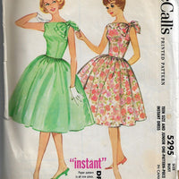 McCalls 5295 Teen Rockabilly Party Dress Vintage Sewing Pattern