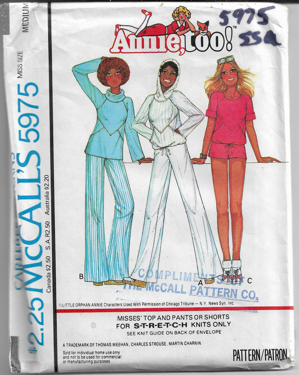 mccalls 5975 annie too vintage pattern 1970s