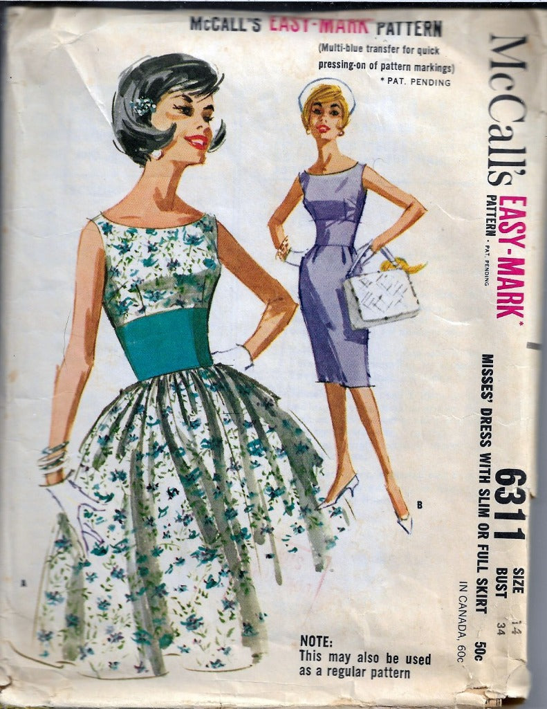 McCalls 6311 Vintage Sewing Pattern 1960s Ladies Sleeveless Dress - VintageStitching - Vintage Sewing Patterns