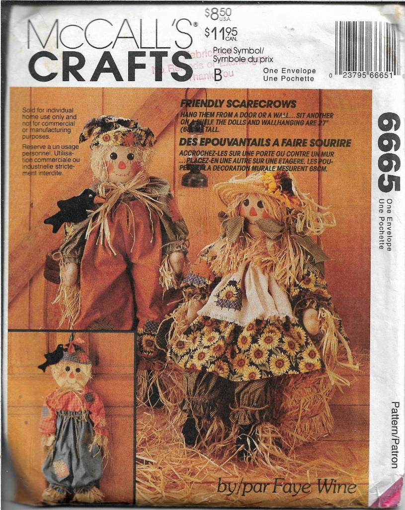 McCalls Crafts 6665 Autumn Scarecrow Doll Wall Hanging Sewing Pattern - VintageStitching - Vintage Sewing Patterns