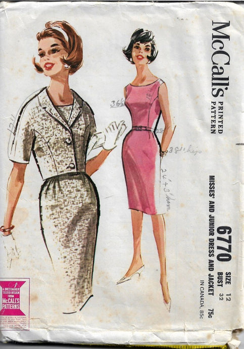 McCall's 6770 Vintage Sewing Pattern Ladies Sleeveless Gore Dress and Jacket Mad Men - VintageStitching - Vintage Sewing Patterns