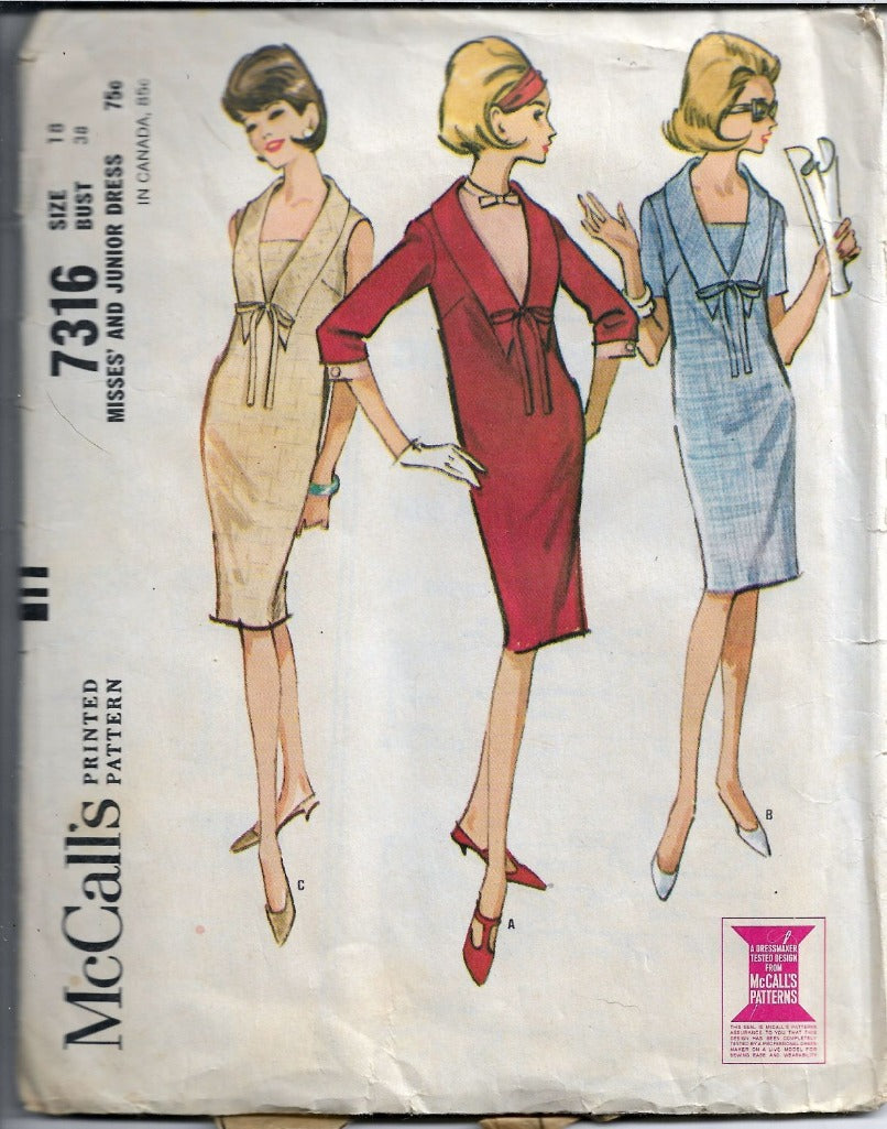 McCall's 7316 Vintage Sewing Pattern 1960's Misses Shift Sheath Sleeveless Mod Dress - VintageStitching - Vintage Sewing Patterns