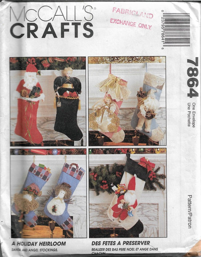 McCall's 7864 Christmas Angel Santa Claus Stocking Vintage 1990's Sewing Pattern - VintageStitching - Vintage Sewing Patterns
