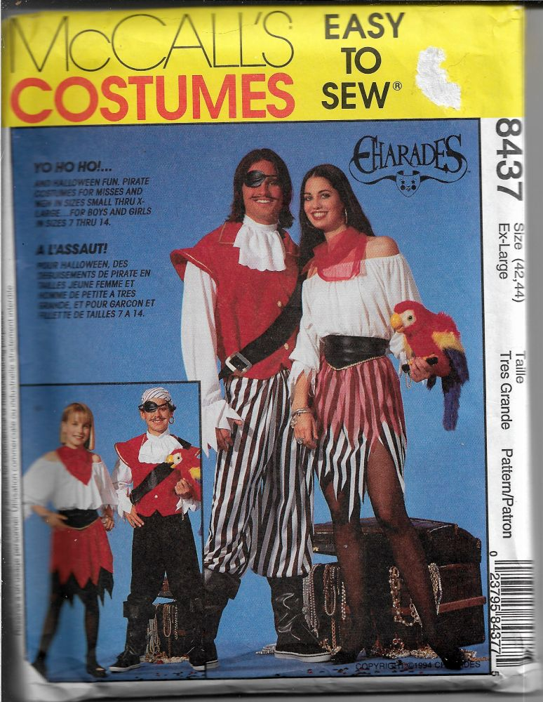 mccalls 8437 pirate sea wench costume pattern