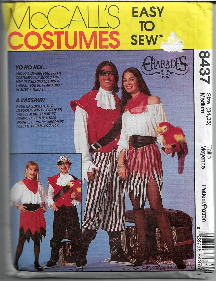 mccalls 8437 pirate costume pattern