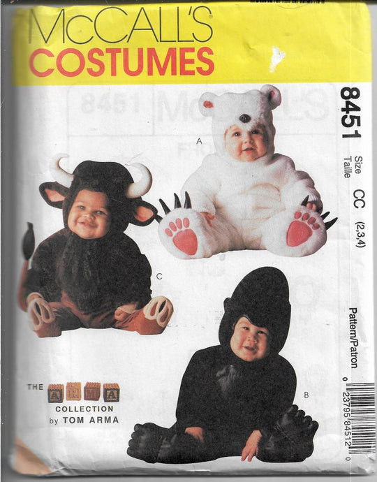 mccalls 8451 toddler costume bear bull gorilla