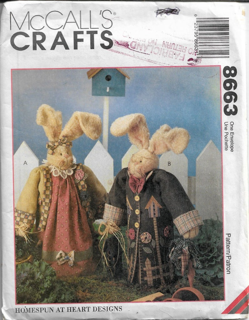 McCall's Crafts 8663 Bunny Rabbit Sewing Pattern Homespun at Heart Designs - VintageStitching - Vintage Sewing Patterns