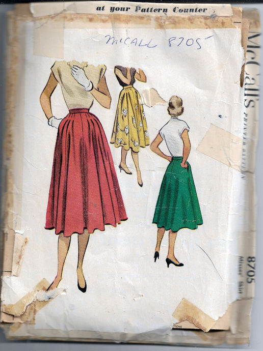 mccalls skirt 8705 vintage sewing pattern 1950s