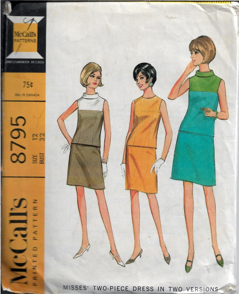 McCalls 8795 Ladies Two Piece Dress Vintage Sewing Pattern 1960s - VintageStitching - Vintage Sewing Patterns