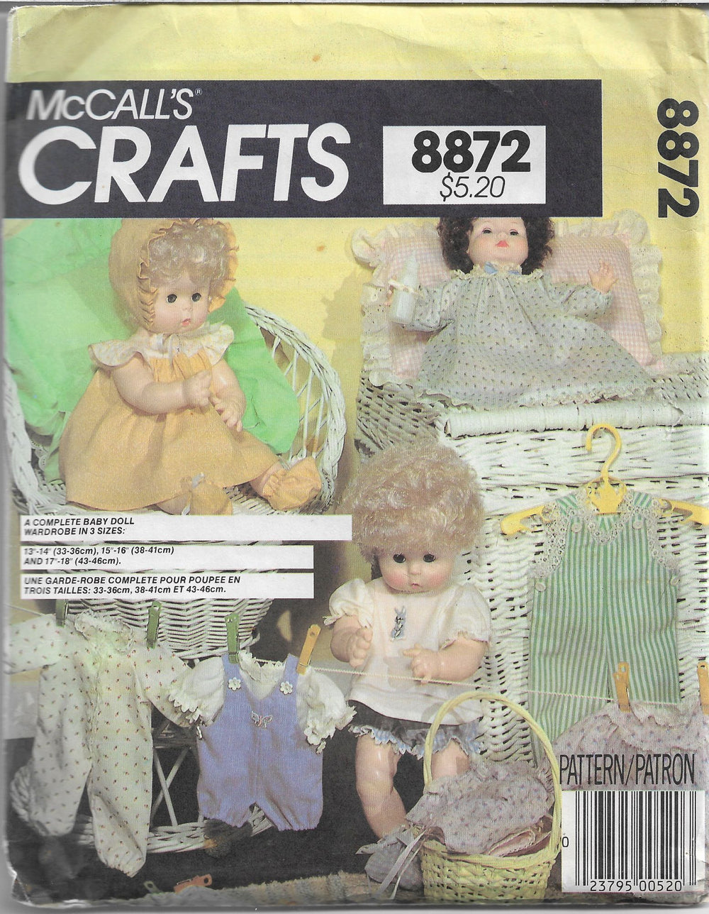 mccalls 8872 doll clothes vintage pattern