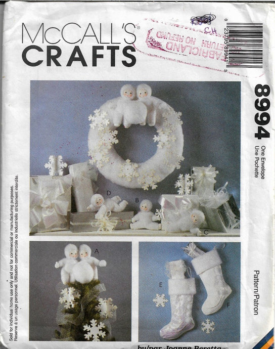 McCall's Crafts 8994 Snow Babies Christmas Sewing Pattern Topper Ornament Stocking Wreath - VintageStitching - Vintage Sewing Patterns