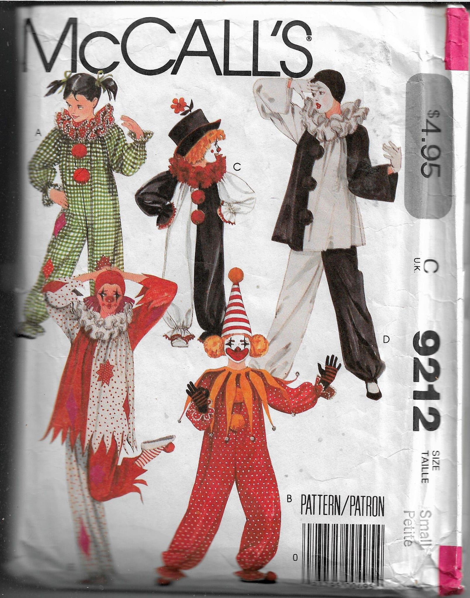 clown costume pattern mccalls 9212