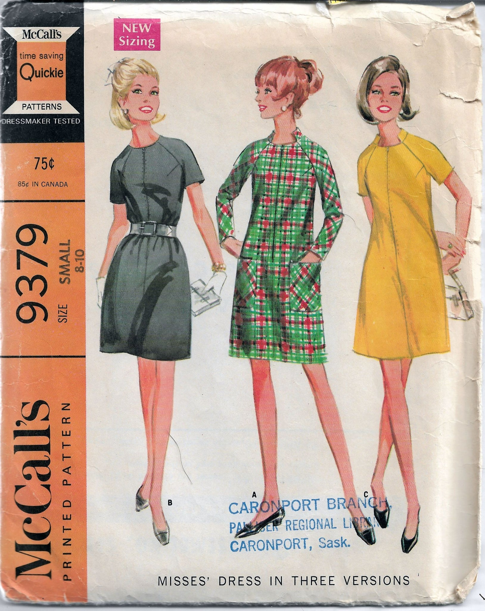 mccalls 9379 dress vintage pattern 1960s