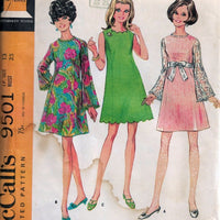McCalls 9501 Ladies Junior Petite Shortie Dress Vintage Sewing Pattern 1960s - VintageStitching - Vintage Sewing Patterns