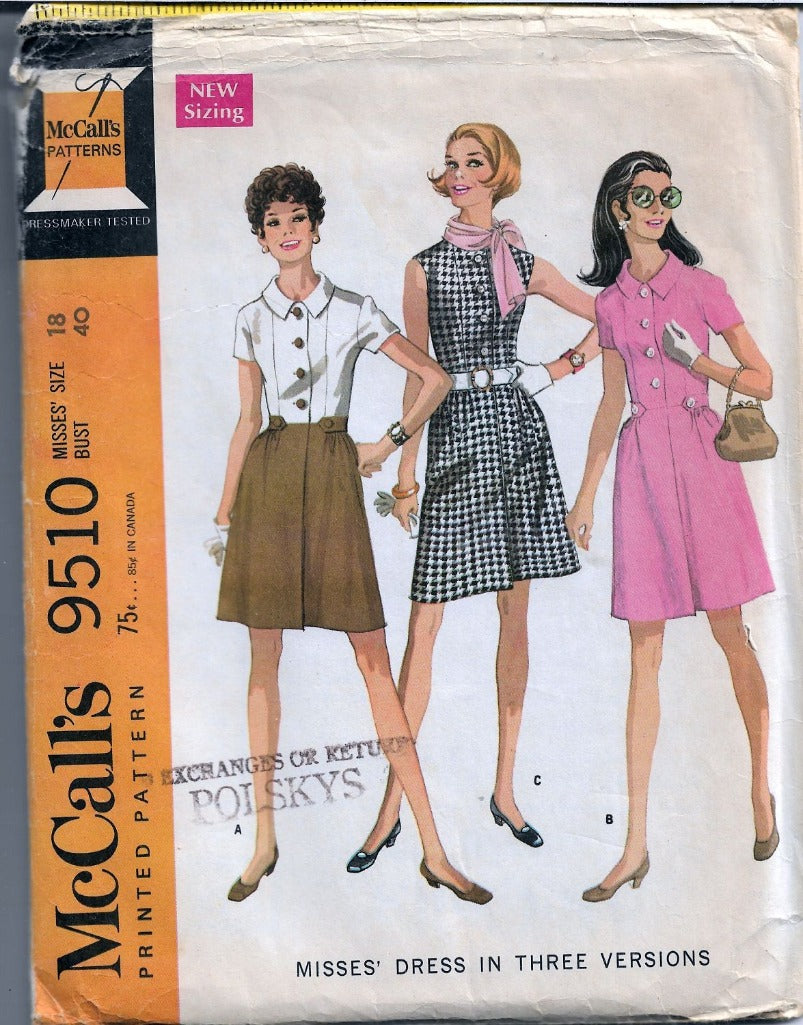 McCall's 9510 Vintage Sewing Pattern 1960's Ladies Mod Chic Dress - VintageStitching - Vintage Sewing Patterns