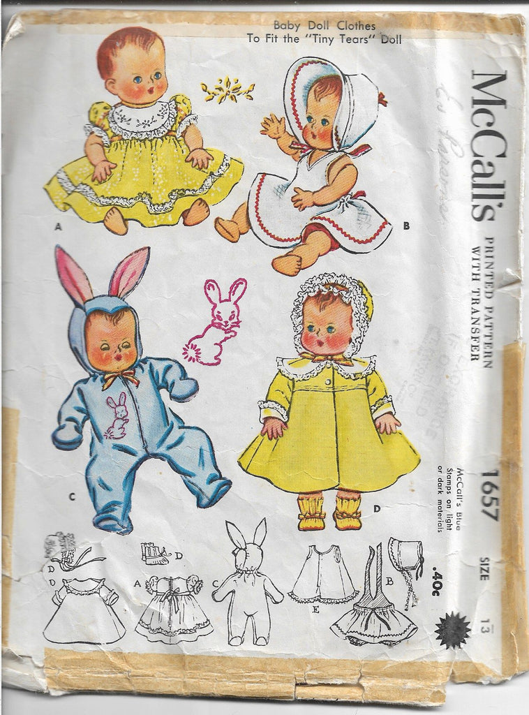 mccalls 1657 doll clothes vintage pattern 1950s