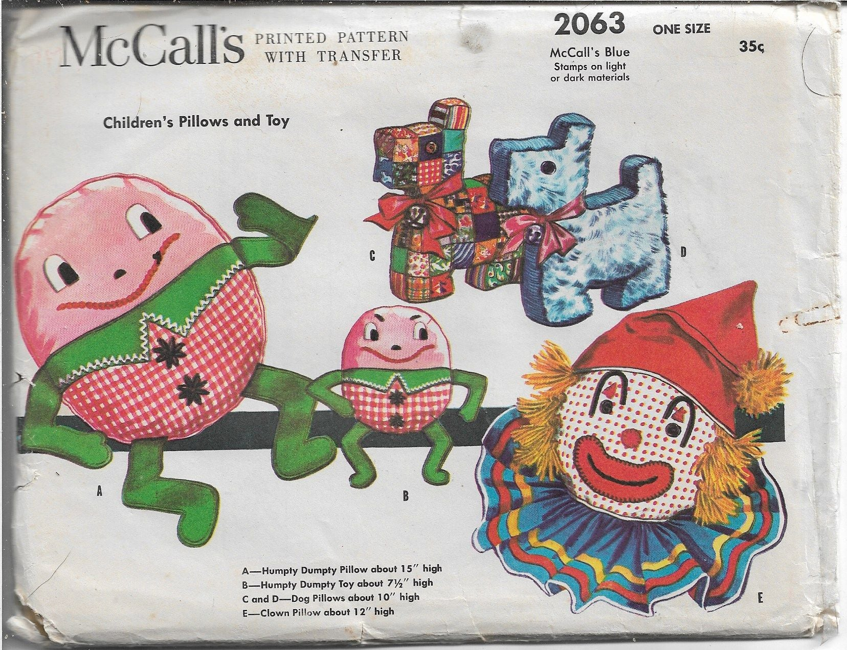 McCalls 2063 Humpty Dumpty Clown Pillow Toys Vintage Craft Sewing Pattern 1950s - VintageStitching - Vintage Sewing Patterns
