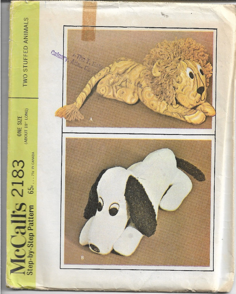 McCalls 2183 Vintage Sewing Craft Pattern 1960s Lion Dog Stuffed - VintageStitching - Vintage Sewing Patterns
