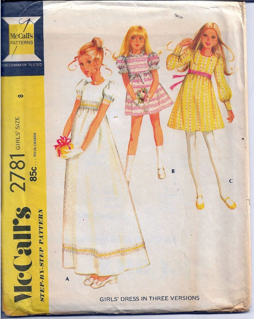 McCalls 2781 Flower Girl Wedding Dress Vintage Sewing Pattern 1970s - VintageStitching - Vintage Sewing Patterns