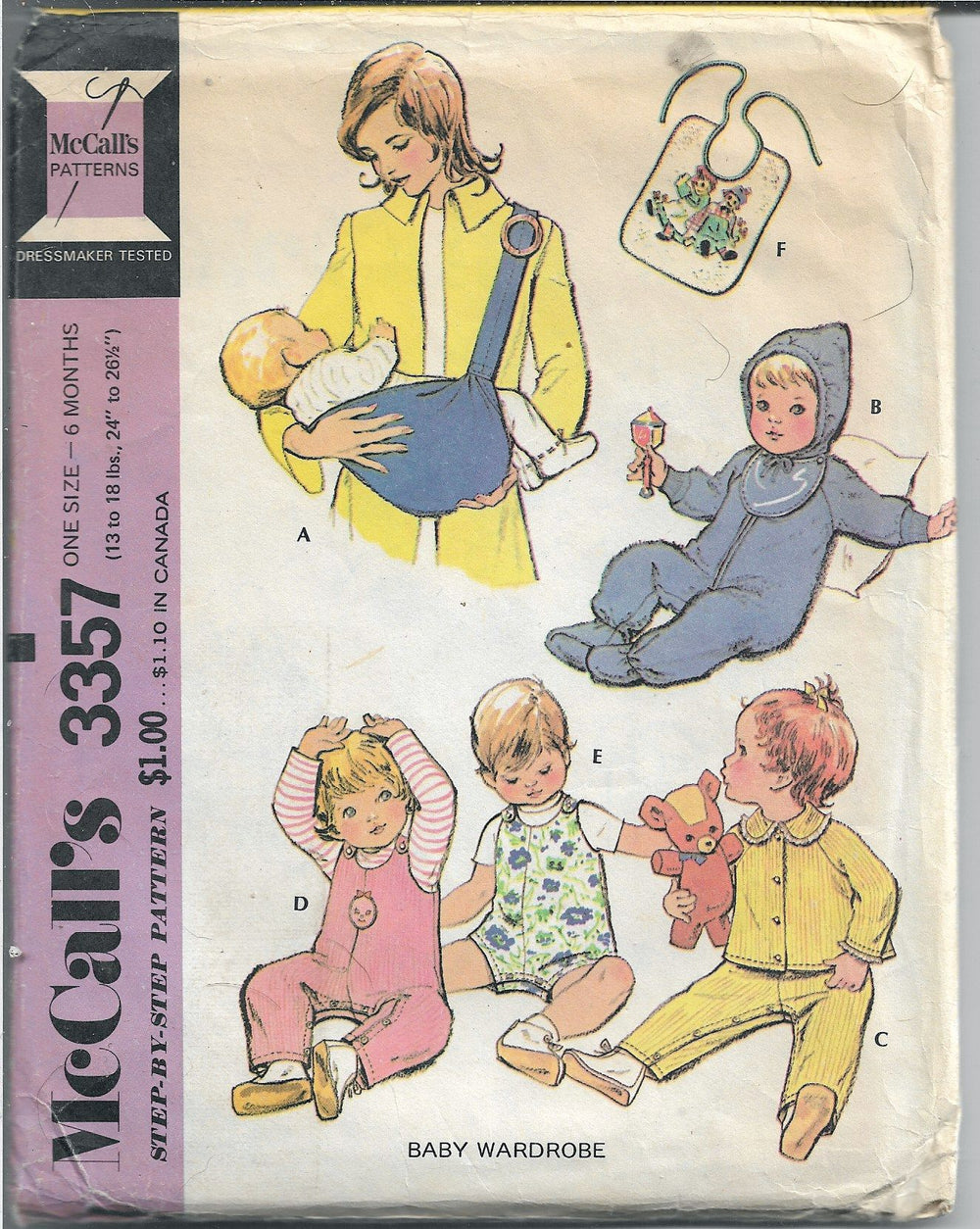 McCalls 3357 Baby Infant Snowsuit Jacket Overalls Vintage Sewing Pattern 1970s - VintageStitching - Vintage Sewing Patterns
