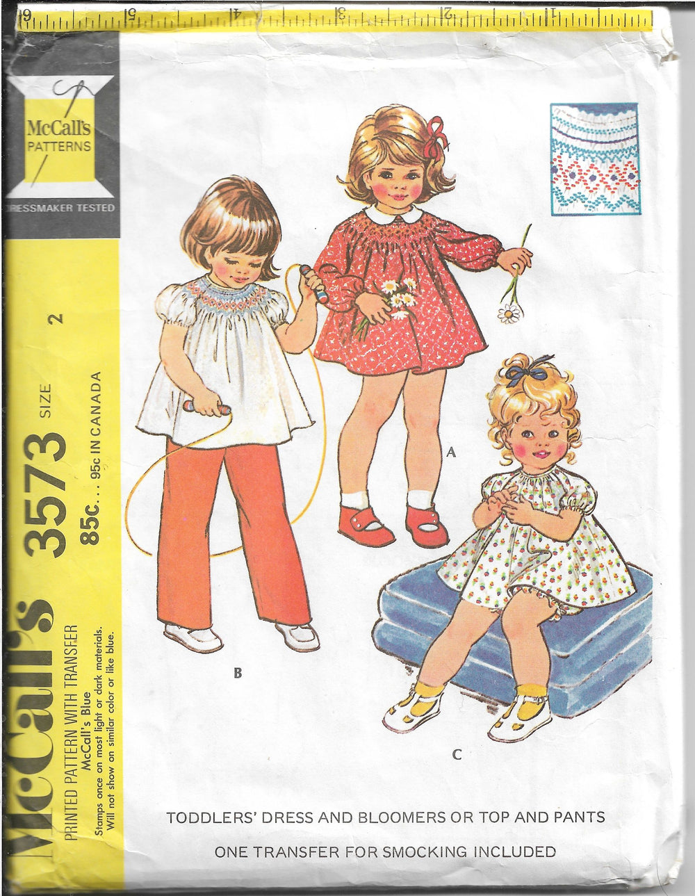McCalls 3573 Toddlers Dress Bloomers Vintage Sewing Pattern 1970s - VintageStitching - Vintage Sewing Patterns