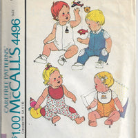 McCall's 4496 Baby Summer Overalls Shirt Bib Vintage Sewing Pattern 1970s - VintageStitching - Vintage Sewing Patterns