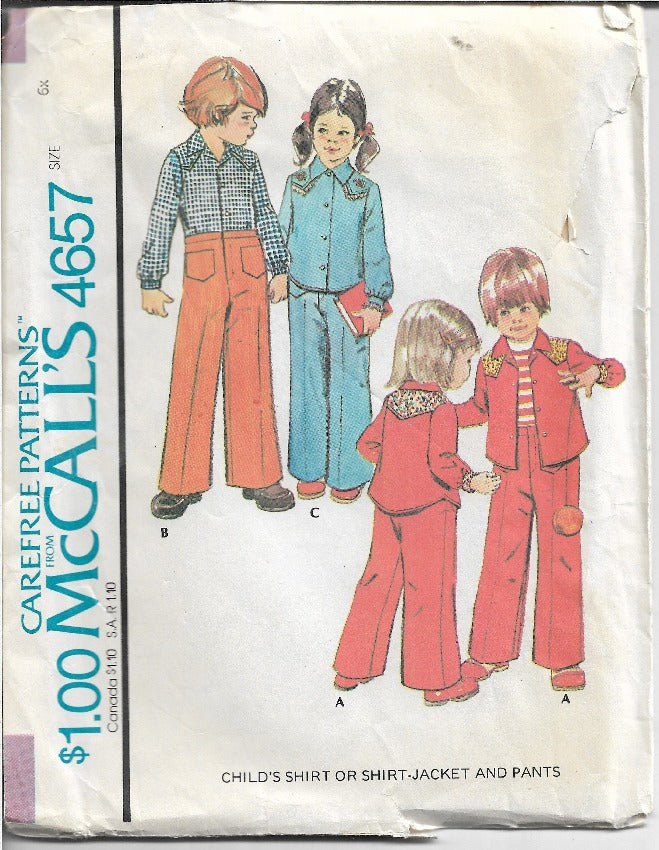 McCalls 4657 Girls Boys Jacket Pants Shirt Vintage Sewing Pattern 1970s - VintageStitching - Vintage Sewing Patterns